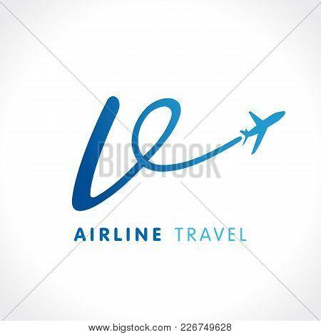 V Letter Transport Travel Company Logo. Airline Business Travel Symbol Design With Letter