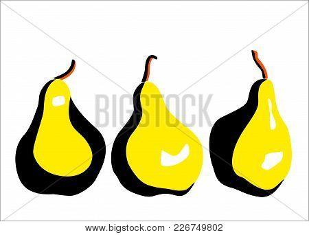 Sweet Pear. Fruits. Garden. Pop-art Modern Illustration For Your Design.
