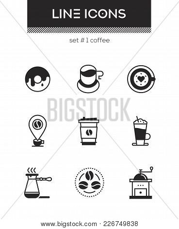 Coffee - Set Of Line Design Style Icons Isolated On White Background. High Quality Images For A Cafe