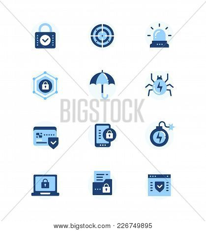 Information Security, Data Protection - Set Of Flat Design Style Icons On White Background. High Qua