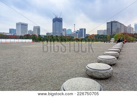 TOKYO, JAPAN - NOVEMBER 14, 2016: People in the park of Tokyo city, capital of Japan. Tokyo Metropolis is both the capital and most populous city of Japan.