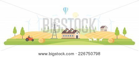 Eco Village - Modern Flat Design Style Vector Illustration On White Background. A High Quality Compo