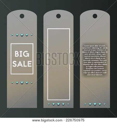 Paper Tag Luxury Style. Vector Label With Blue Diamond. Collection Of Metall Templates With Brillian