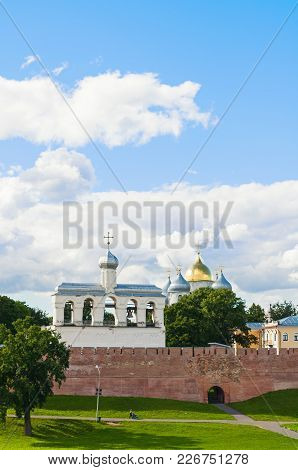 Veliky Novgorod, Russia. Veliky Novgorod Kremlin Walls And St Sophia Cathedral With The Belfry In Su