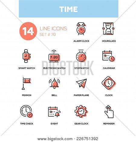 Time Concept - Line Design Icons Set. High Quality Black Pictogram. Alarm Clock, Hourglass, Smart, E