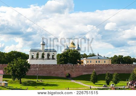 Veliky Novgorod, Russia -august 12, 2016. Veliky Novgorod Kremlin Walls And St Sophia Cathedral With