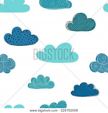Beautiful Seamless Pattern Of Doodle Clouds. Design Background Greeting Cards And Invitations And Fo