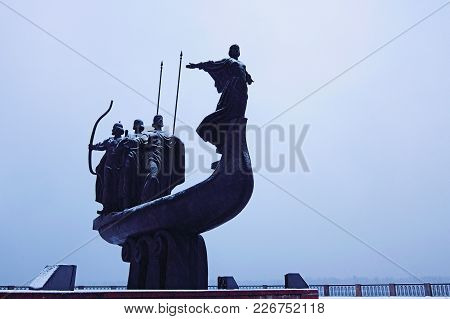 Kyiv, Ukraine:february 10, 2018-monument To Founders Of Kyiv: Kiy, Schek, Khoryv And Their Sister Ly