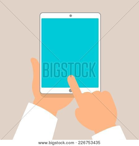 Tablet Pc In Human Hands. Flat Style Vector Illustration Eps10