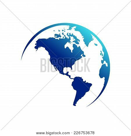 America Continent Map Globe Vector Symbol Graphic Logo Design