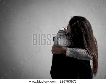 Depressed Broken Hearted Woman Sitting Alone In Dark Room At Home. Lonly , Sad, Love And  Valentines