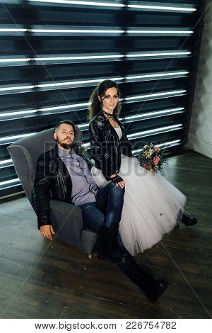 Wedding In The Style Of Rock. Rocker Or Biker Wedding.