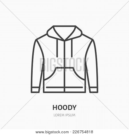 Hoodie, Sweater Flat Line Icon. Casual Apparel Store Sign. Thin Linear Logo For Clothing Shop.