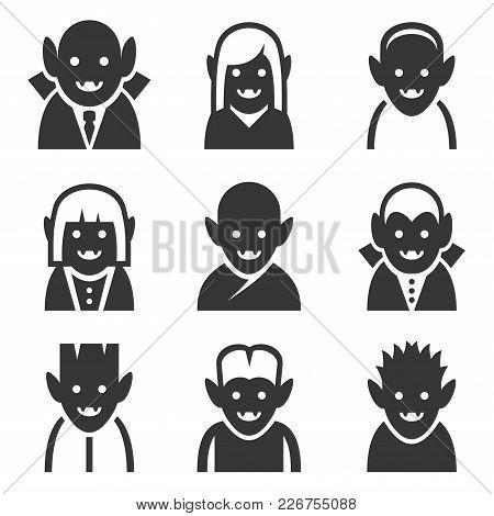 Vampire Icons Set On White Background. Vector Illustration
