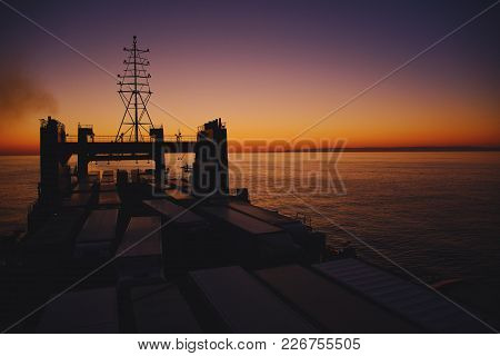 Watching The Sunset From The Upper Deck Of A Lorry-filled Ferry, Crossing The Black Sea From Ukraine