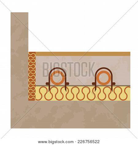 Underfloor Heating System. Plastic Pipe. Vector Installation Model. Water Conduit.