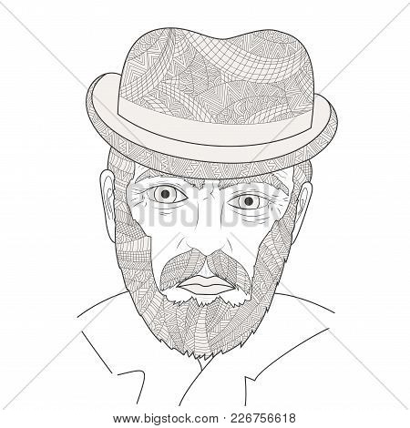 The Face Of An Old Man Zen Tangle Vector Illustration. Grandfather With A Moustache In The Hat. Colo
