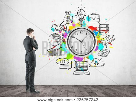 Thoughtful Businessman In Glasses, Time Management