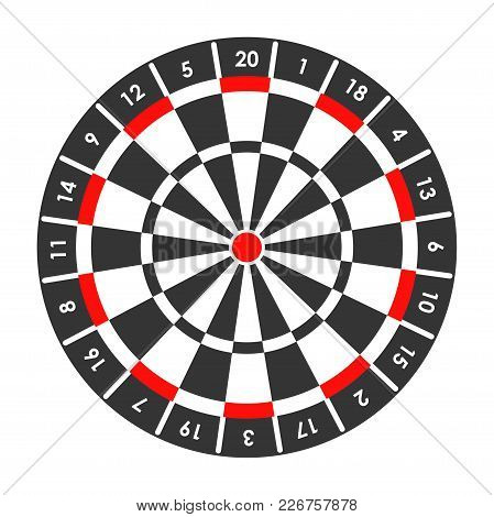 Target For Darts Game With Score Points Around And Red Spot In Middle. Big Black And White Aim For G
