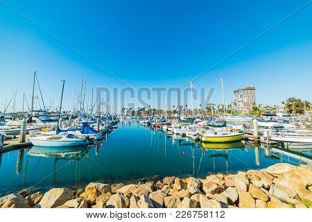 Clear Sky Over Oceanside Harbor In California