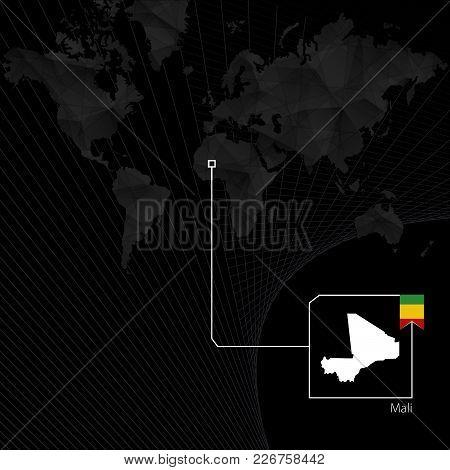 Mali On Black World Map. Map And Flag Of Mali.