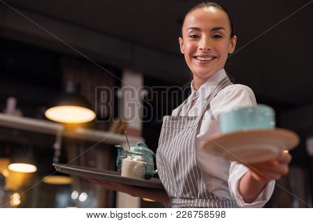 Your Tea. Happy Appealing Beautiful Waitress Serving Tea While Holding Tray And Grinning