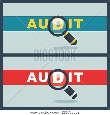 Illustration Of Audit Word With Magnifier Concept