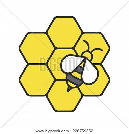 Beekeeping Color Icon. Honey Bee On Honeycomb. Apiary. Isolated Vector Illustration
