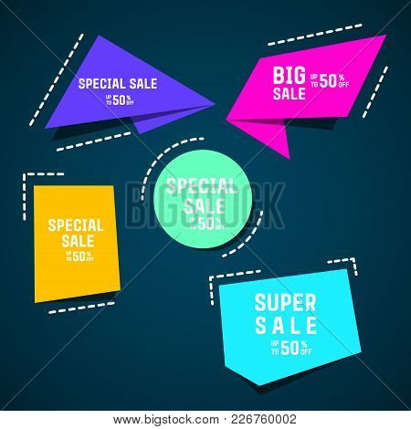 Origami Box:big Sale. Special Sale. Super Sale.  Vector Abstract Geometric Origami