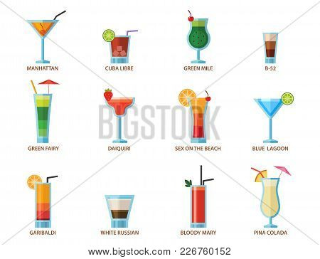 Set Of Alcoholic Cocktails Fruit Cold Drinks Tropical Cosmopolitan Freshness Collection And Party Al