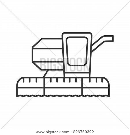 Combine Harvester Linear Icon. Agricultural Implement. Thin Line Illustration. Contour Symbol. Vecto