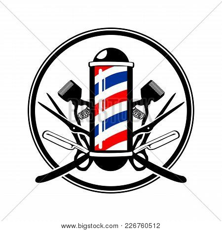 Circular Emblem Barber's Pole With Scissor, Razor And Old Clippers