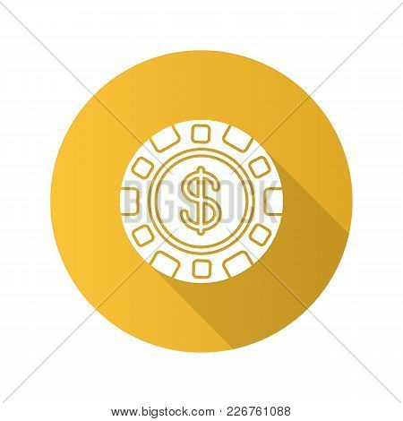 Casino Chip Flat Design Long Shadow Glyph Icon. Gambling Token With Dollar Sign. Vector Silhouette I