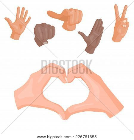 Hands Deaf-mute Heart Symbol Vector Different Gestures Human Arm People Communication Message Illust