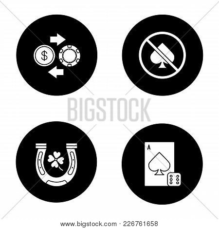 Casino Glyph Icons Set. Horseshoe, Four Leaf Clover, Casino Chips And Real Money Exchange, No Gambli