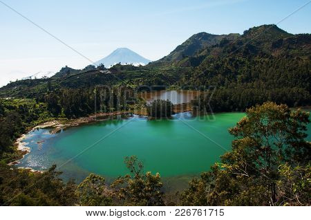 Beautiful Lake With Turquoise Water In The Mountains Of The Island Of Yogyakarta.