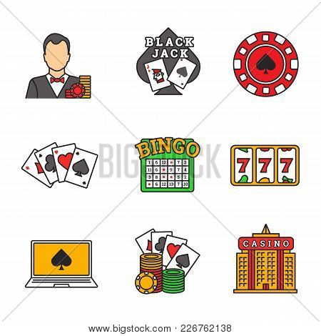 Casino Color Icons Set. Croupier, Blackjack, Casino Chip, Four Aces, Lucky Seven, Bingo, Online Poke