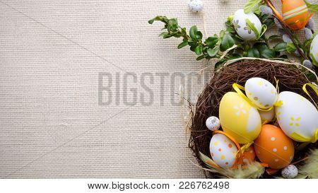 Happy Easter Decoration Background, Eggs In The Nest