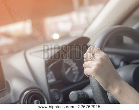 Drive For Traveling, Girl Control Steering Wheel , Safety Concept When Drive In Bright Sunlight