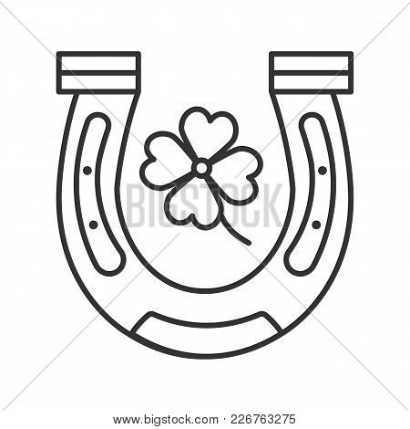 Horseshoe And Four Leaf Clover Linear Icon. Symbols Of Success And Good Luck. Thin Line Illustration