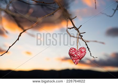 Handmade Heart, Sunset Sky In Background, Original Wallpaper Or Postcard For Valentine