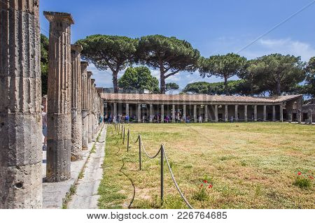 Ruins Of The Ancient City Of Pompeii, Colonnade And Gardens Near The Volcano Vizuvius, Pompei, Naple