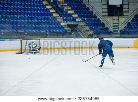 Hockey Player On The Ice, Sport Concept Photo, Edit Space