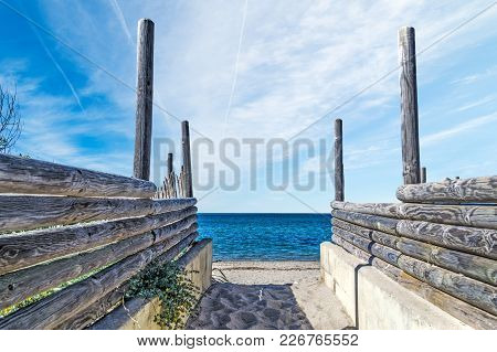 Wooden Palisades By The Sea In Sardinia, Italy