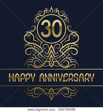 Happy Anniversary Greeting Card Template For Thirty Years Celebration. Vintage Design With Golden El