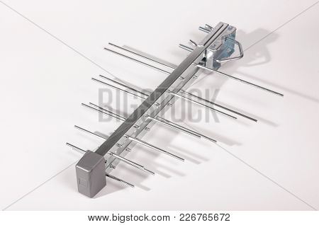 Log Periodic Antenna For Uhf Tv Isolated On The White Background