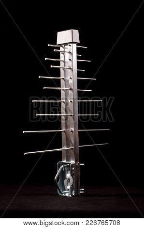 Log Periodic Antenna For Uhf Tv Isolated On The Black Background