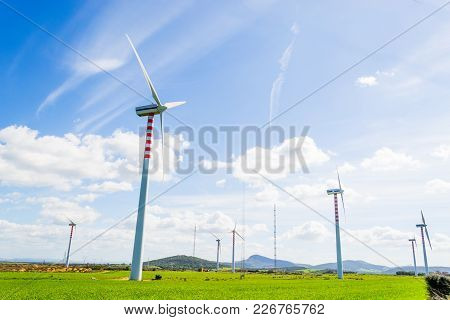 Some Windmill Blades In Sardinia In Italy