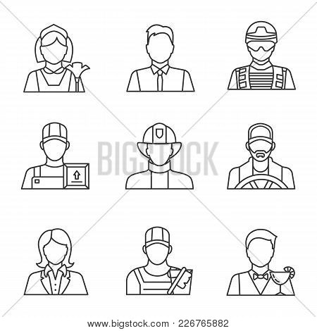 Professions Linear Icons Set. Occupations. Maid, Barman, Office Worker, Soldier, Loader Man, Firefig