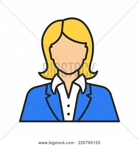 Office Worker Color Icon. Businesswoman, Admin, Manager, Secretary, Receptionist. Isolated Vector Il